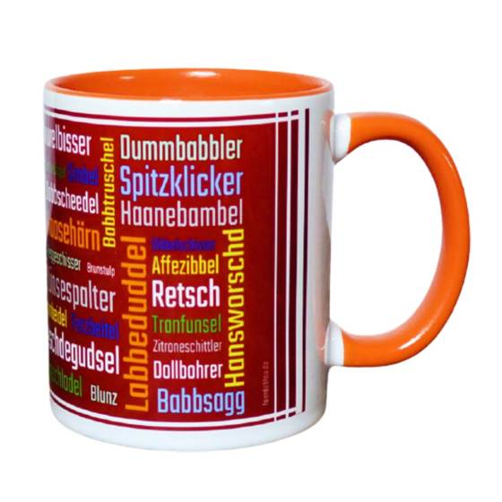 Pfälzer Kaffeebecher mit Schimpfwörtern aus der Pfalz
