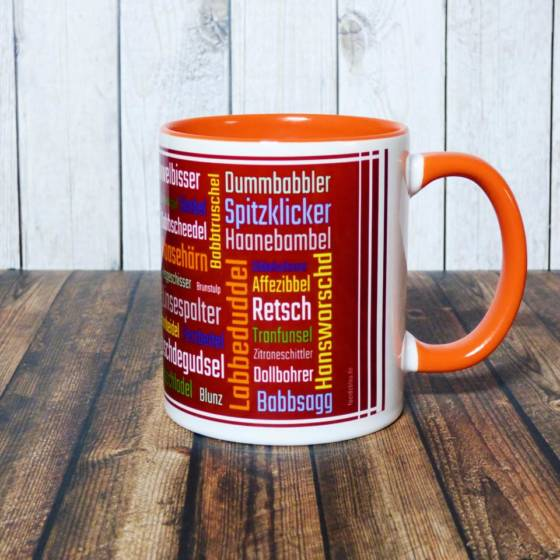 Pfalz-Tasse / Becher mit Schimpfwörtern im Pfälzer Dialekt als Tag Cloud