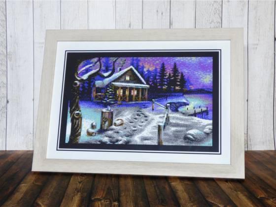 Pixelbild Kunstwerk im Bilderrahmen, Winter is coming by Yazoo of Oxyron