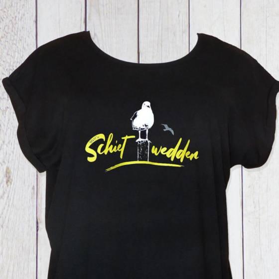 Damen T-Shirt maritim mit Schietwedder Schrift und Möwe bedruckt, in Schwarz. Schietwetter Oberteil, Norddeutsch für Frauen