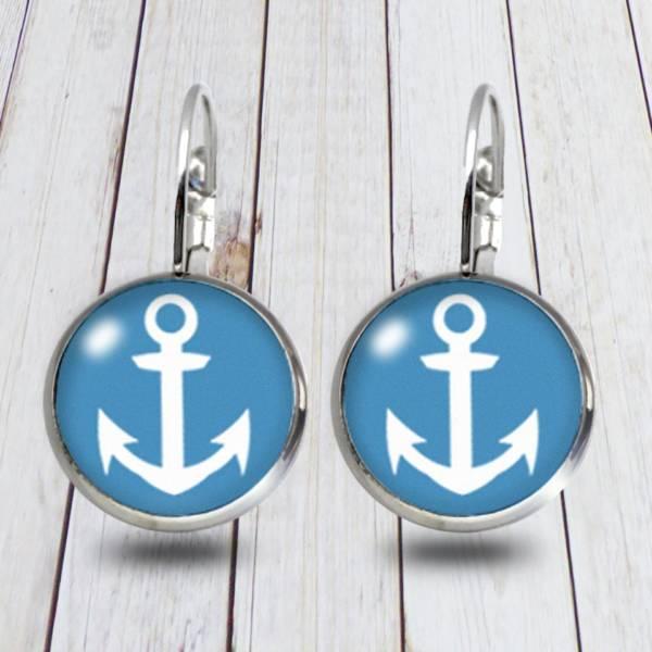 Maritime Modeschmuck Ohrringe mit Anker