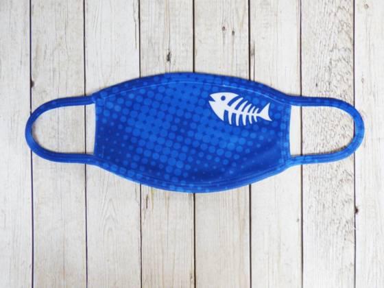 Communitymaske blau mit Fischgräte