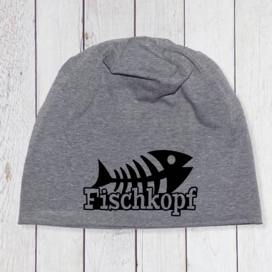 Maritimes Beanie in grau meliert mit Fischgräte und 'Fischkopf' Schrift bedruckt. Farbe des Aufdrucks wählbar | Unisex