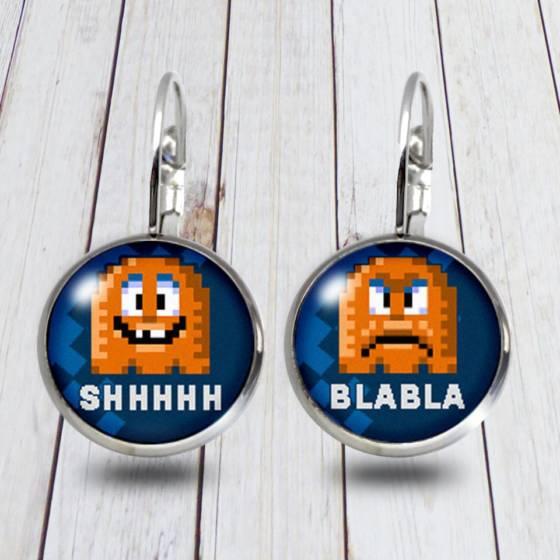 Witziges Geschenk für Frauen mit Pixel-Art / Lustige Ohrringe mit Spruch / Modeschmuck aus Edelstahl