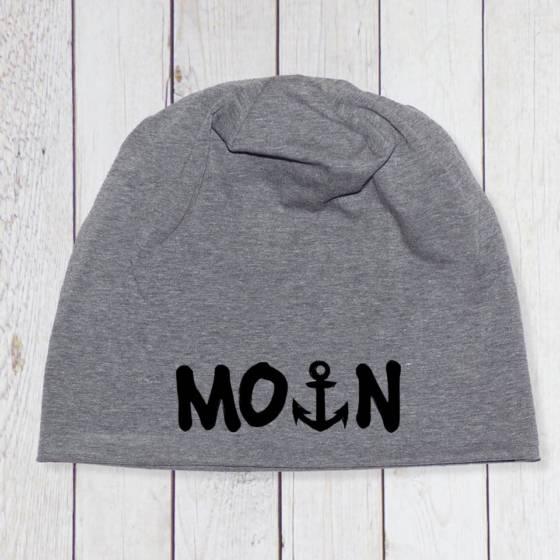 Beanie maritim unisex für Männer und Frauen – mit 'Moin' bedruckt inkl. Anker (Farbe wählbar)