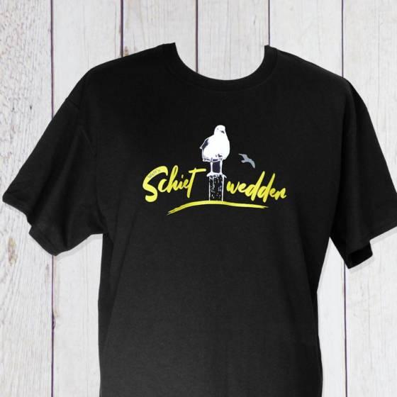 Lustiges maritimes Schietwetter / Schiedwedder T-Shirt auf Plattdeutsch in Schwarz für Herren