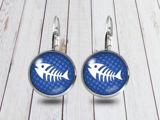 Maritime Ohrringe hängend mit Fischgräte blau