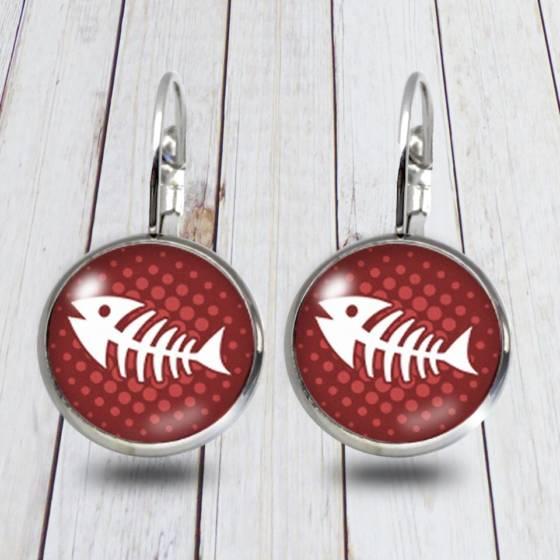 Ohrringe-Anhänger 12mm Geschenk für Frauen mit Fischgräten-Motiv | Modeschmuck aus Edelstahl und Glas