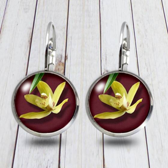 Orchideen Blüten Modeschmuck Ohrringe/Brissuren für Damen