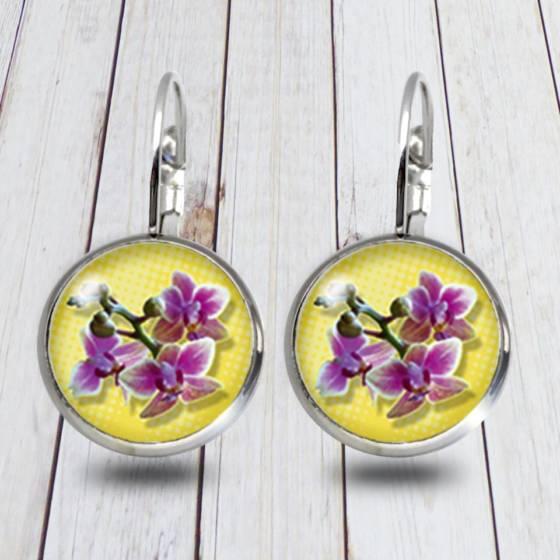 Blumen Modeschmuck Ohrringe/Brissuren hängend mit Orchideen Blüte