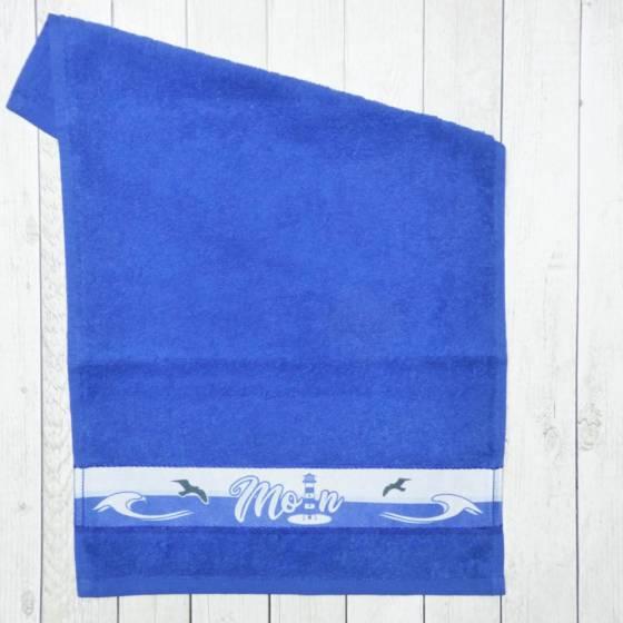 Maritim blaues Gästehandtuch mit Moin, Anker und Leuchtturm bedruckt | 30×50 cm Frottee Handtuch