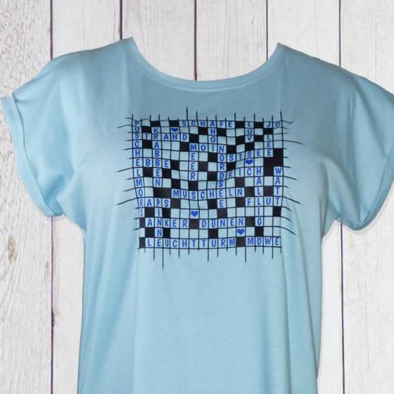 Damen T-Shirt maritim mit typisch norddeutschem Moin | Anker | Nordsee | Ostsee uvm. als lustiges Kreuzworträtsel