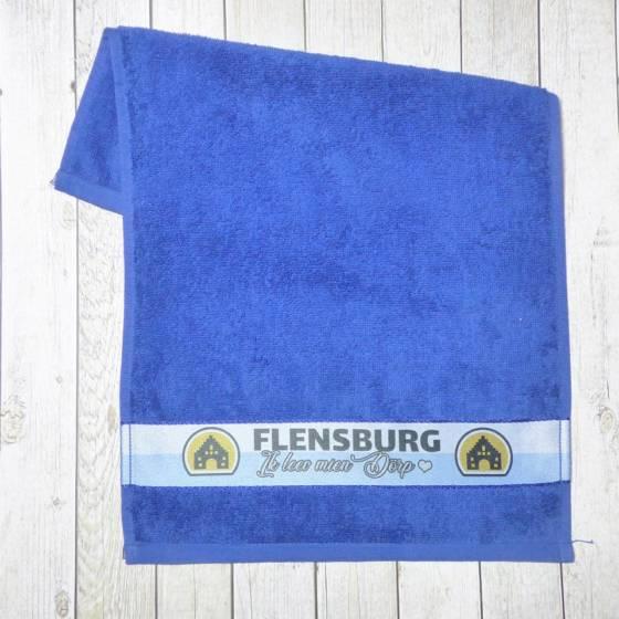 Frottee Gästehandtuch maritim blau mit 'Flensburg – Ik leev min Dörp' Motiv | 30×50 cm