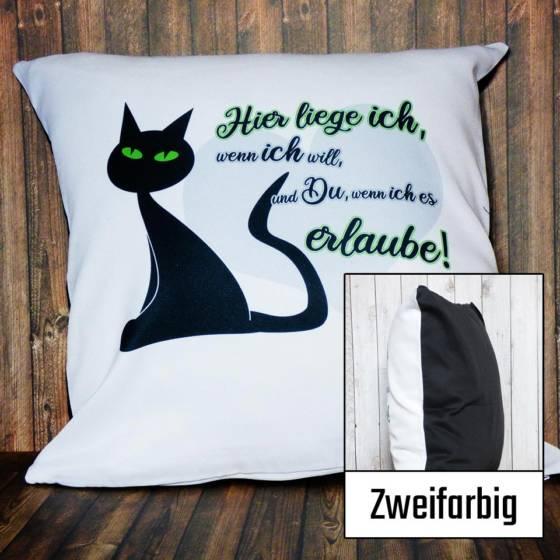 Zweifarbiges Dekokissen mit schwarzer Katze und Spruch bedruckt | Bezug mit Füllung 40x40cm | Zierkissen weiß und schwarz