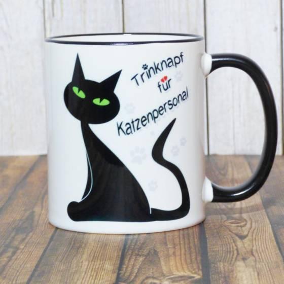 Lustige mehrfarbige Tasse für Katzen-Fans aus Keramik – mit Spruch 'Trinknapf für Katzenpersonal'