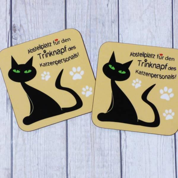 Lustige Untersetzer für Katzenbesitzer, bedruckt mit Spruch   Quadratisch mit Katzen-Motiv