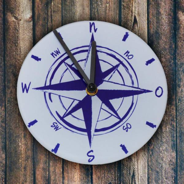 Kompass Wanduhr maritim aus Glas 18 x 18 cm