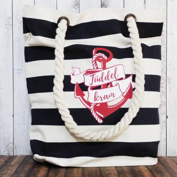 Große Shopper / Schultertasche für den Strand oder zum Einkaufen maritim gestreift mit Anker Motiv